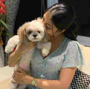 Dhanshree Verma with her pet dog