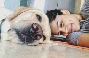 shikha singh with her pet dog