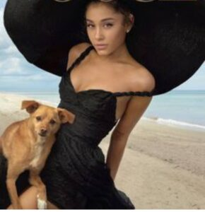 Ariana Grande with his pet dog