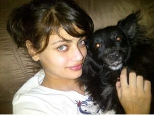 Sneha Ullal with her pet dog
