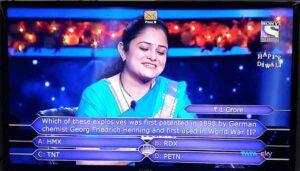 mohita sharma kbc 1 crore question in english