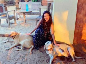 saher bambba with her dog