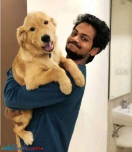 Shanmukh Jaswanth with her pet dog