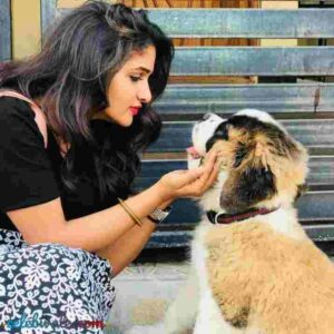 Divya Uruduga with her pet dog