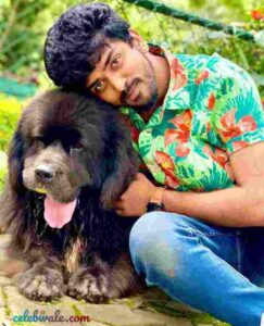 Shamanth Gowda with his pet dog