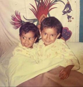 Mayank Agarwal with his elder brother in childhood