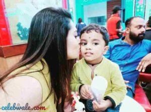 Remya Panicker with her nephew arush