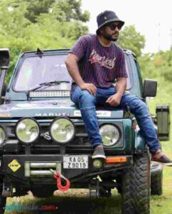 raghu gowda with his jeep
