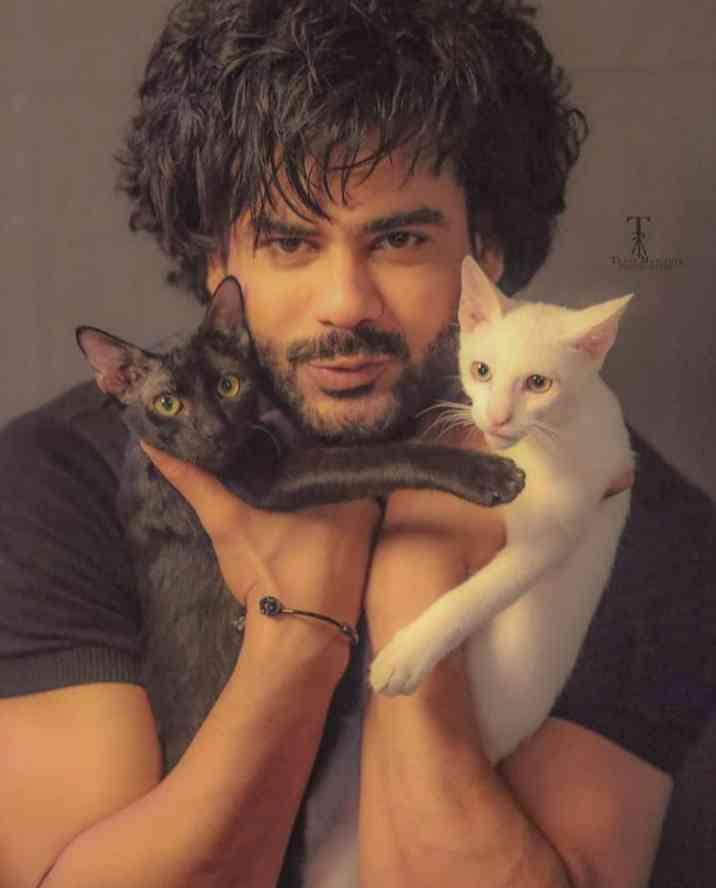 Vishal Aditya Singh with his pet cat