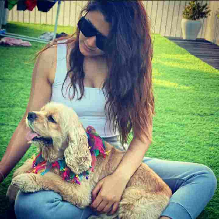 Aastha Gill with her pet dog Teddybellaboo