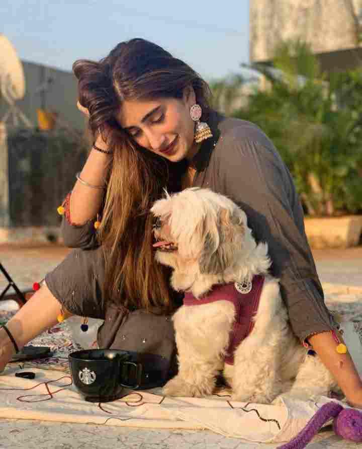 Akasa Singh with her pet dog Treble Singh