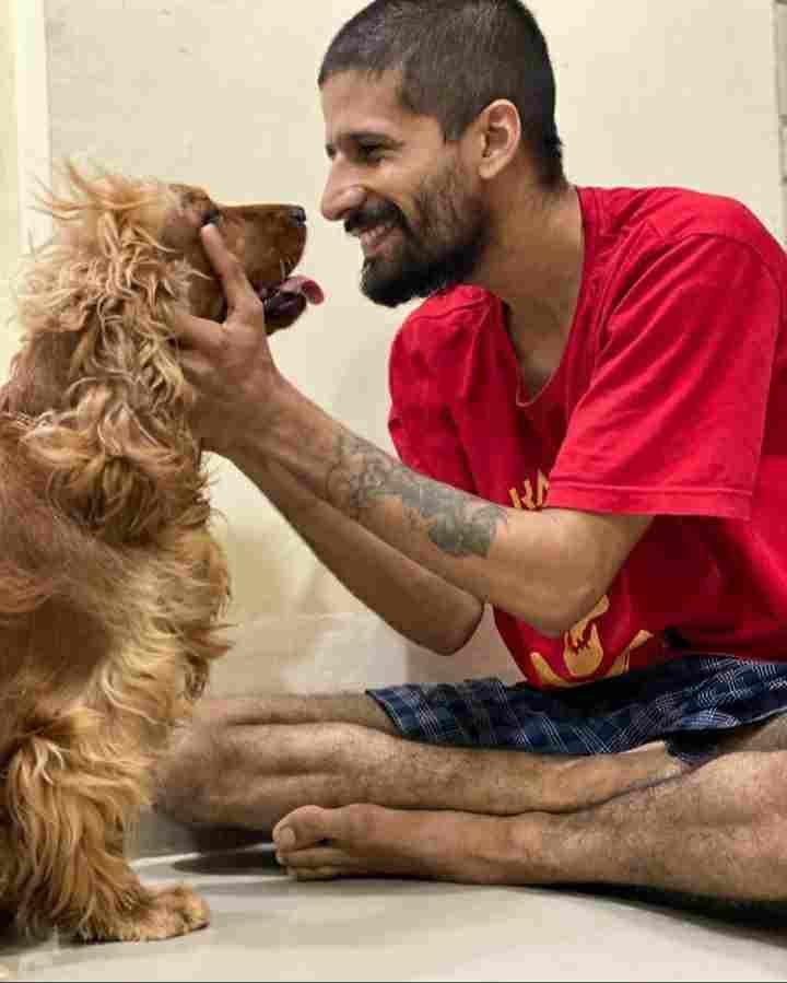 Amardeep Singh Natt with his dog Shooter