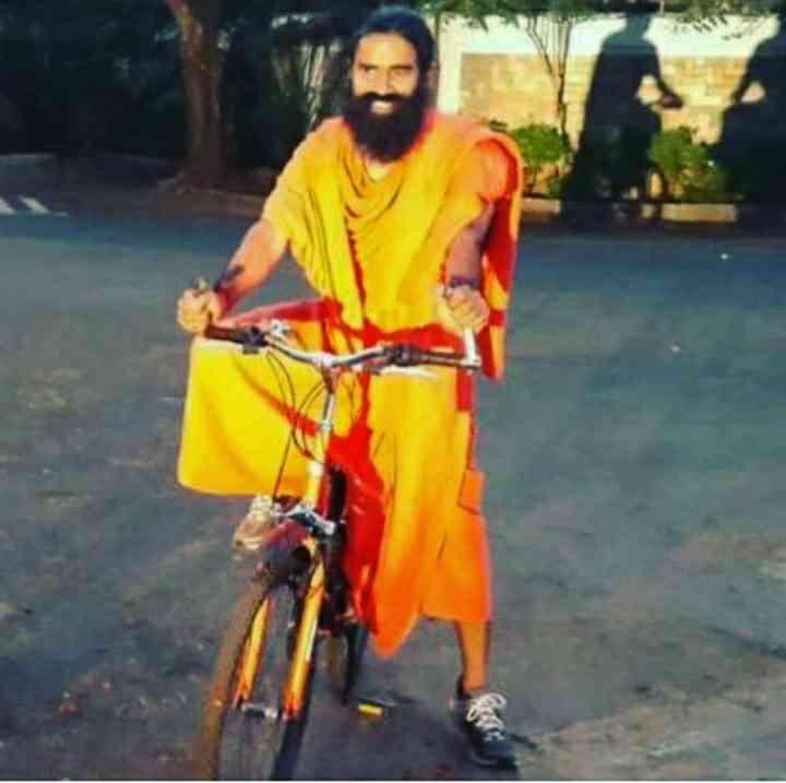 Baba Ramdev ride bicycle