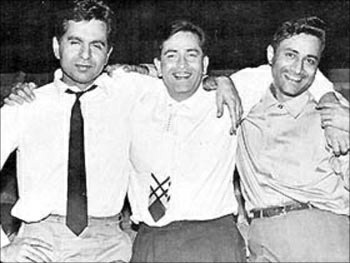Dilip Kumar with his friends Raj Kapoor and Deva Anand