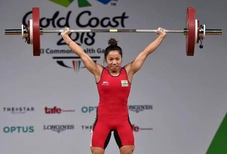 Mirabai Chanu weightlifting in commonwealth games