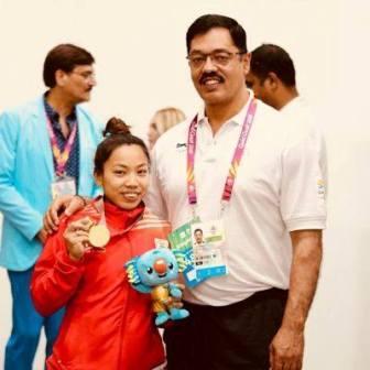 Mirabai Chanu with her coach Vijay Sharma