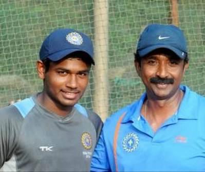 Sanju Samson with his coach Biju George