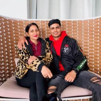 Shubman Gill with her mother Kirat Gill