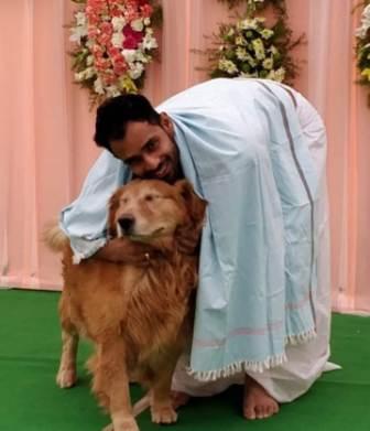 Hanuma Vihari with his pet dog Baintley
