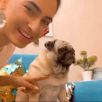Karishma Sharma with her pet dog Charlie