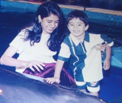 Zeeshan Khan with his mother Shabana Khan
