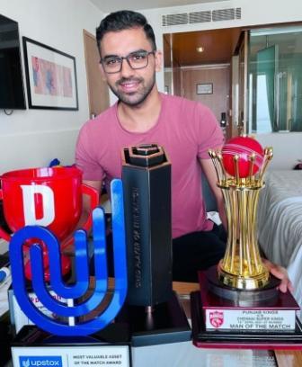Deepak Chahar with his awards