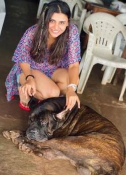 Malti Chahar with his pet dog Euro