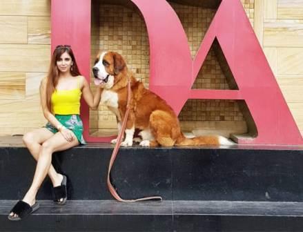 Miesha Iyer with his pet dog Hulk